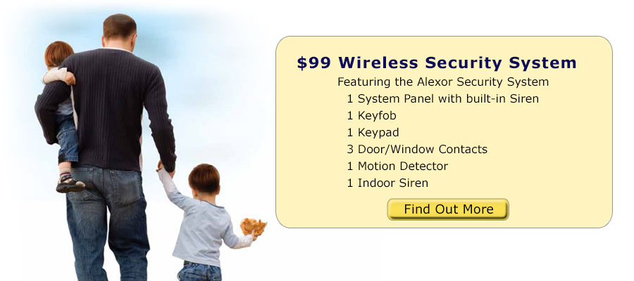 Wireless Security System. Includes 1 system panel, 1 keypad, 3 window/door contacts, and 1 motion detector